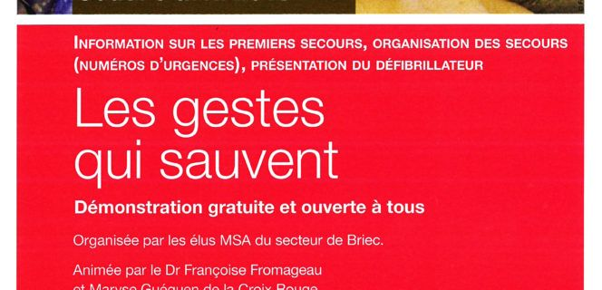 RÉUNION D'INFORMATION PUBLIQUE : GESTES DE PREMIERS SECOURS